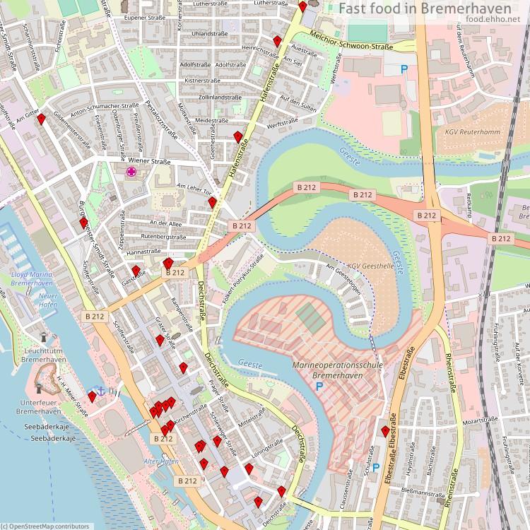 fast food bremerhaven map. Black Bedroom Furniture Sets. Home Design Ideas